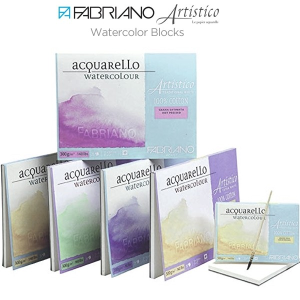 "Fabriano Artistico Watercolour Paper Extra White Block12/""x18/"" HP Smooth Surface"