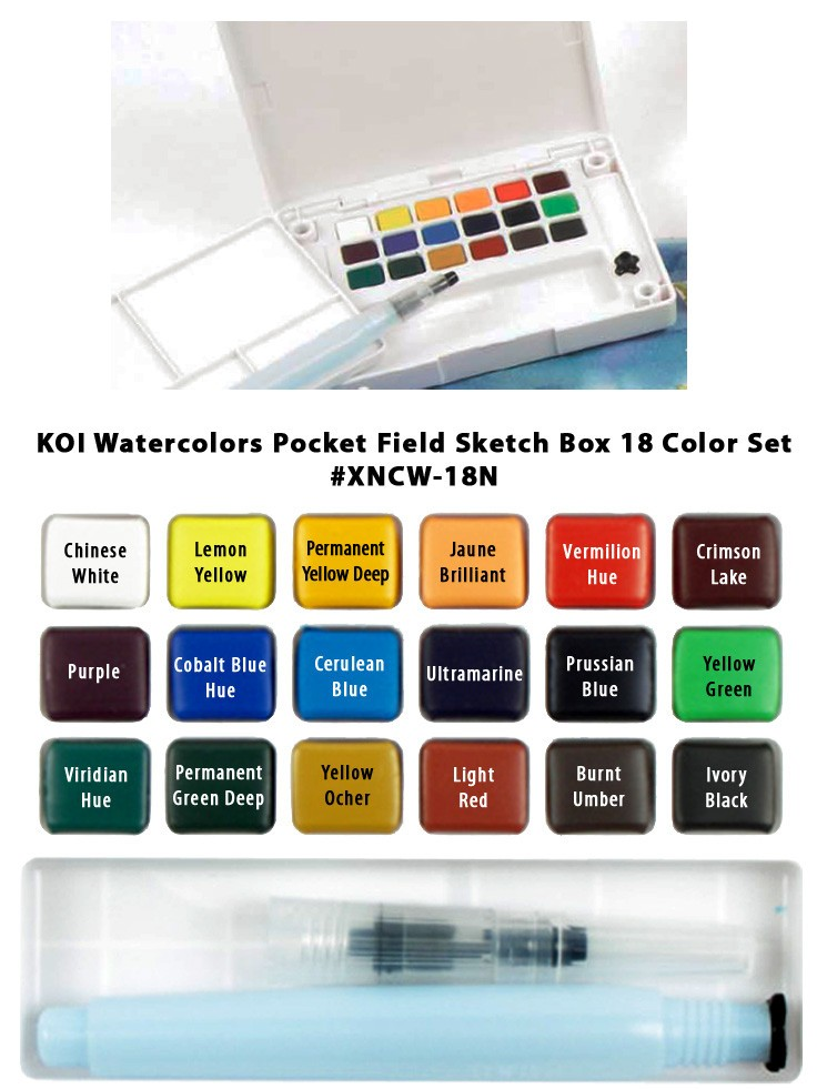 Koi Pocket Watercolor Pen Set of 18