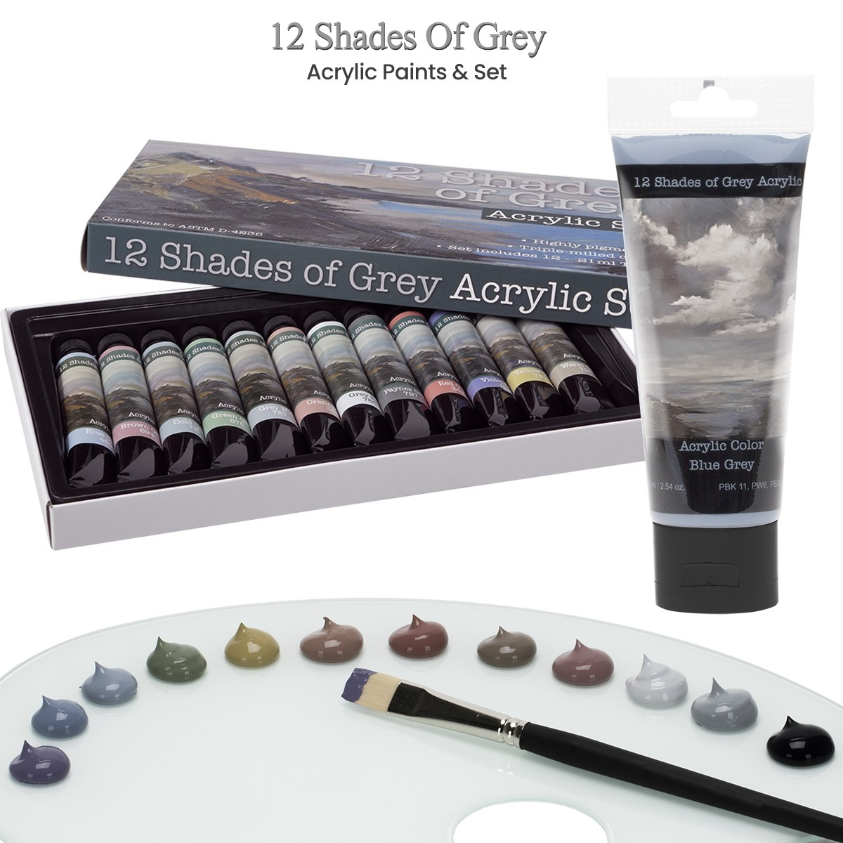 12 Shades of Grey Acrylic Paint Colors & Set of 12