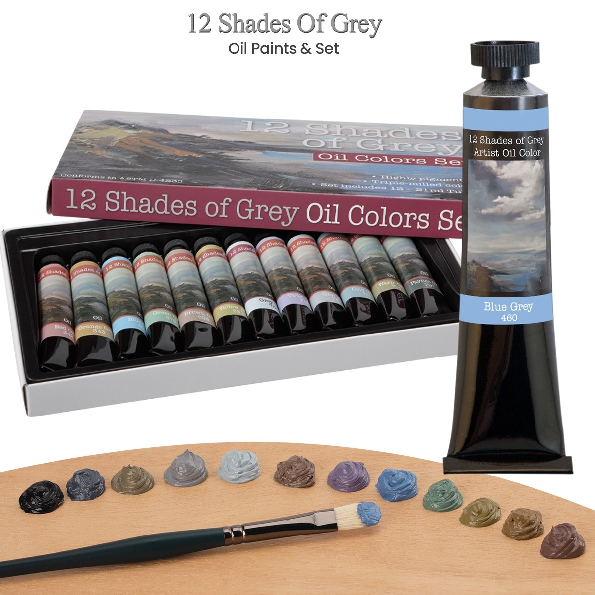 12 Shades of Grey Oil Paints