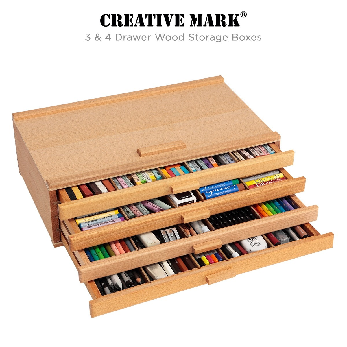 Creative Mark 4 Drawer Wood Storage Box
