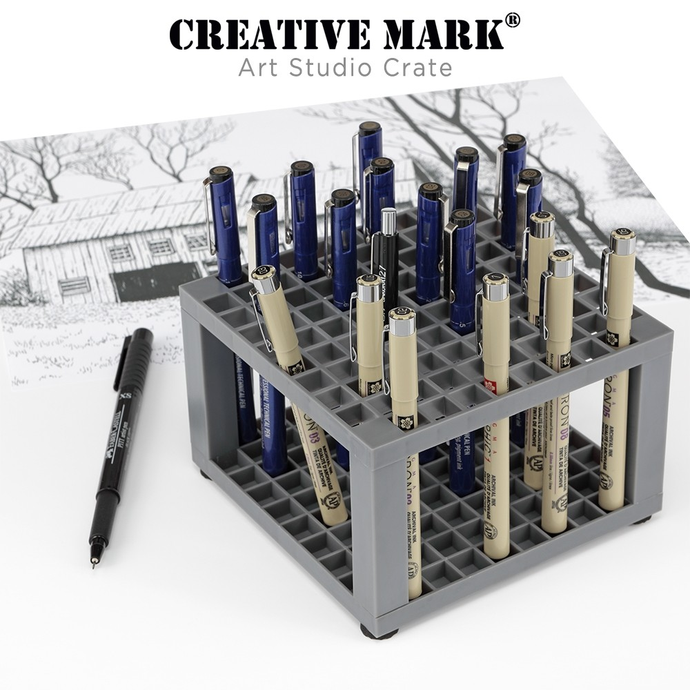 Creative Mark Art Studio Crate holding Micron & Acurit Pens