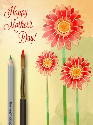 Mother's Day Art eGift Card - Red Watercolor Flowers - electronic gift card eGift Card
