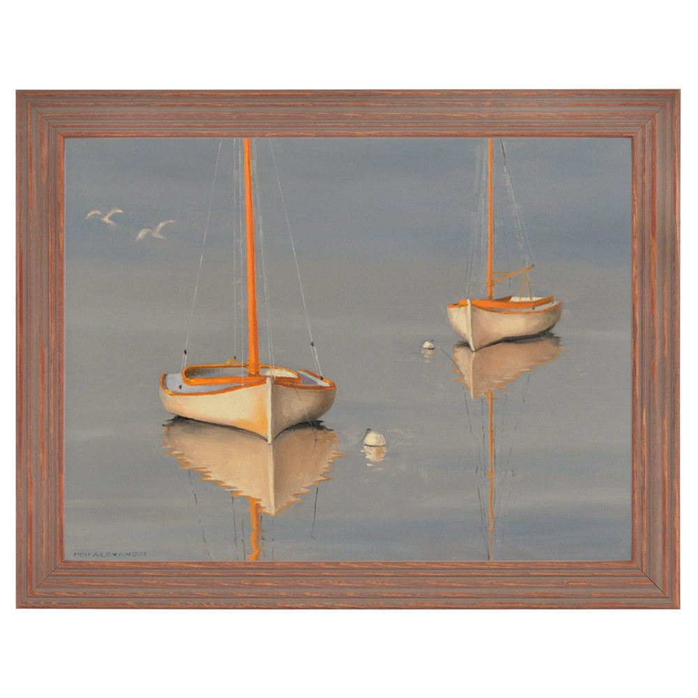 Edisto Isle Frames artwork, Winter Cat Boats by AlexanderR