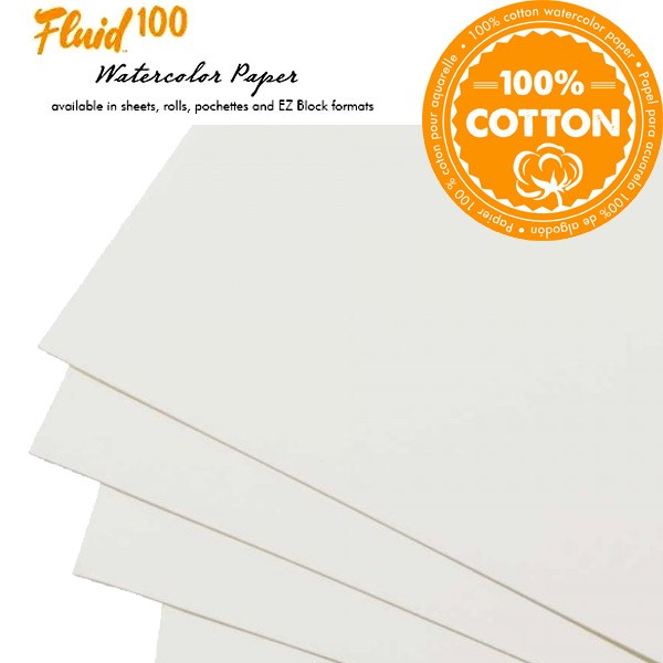 Global Arts Fluid 100 Watercolor Paper Sheets, Blocks and Pouchettes