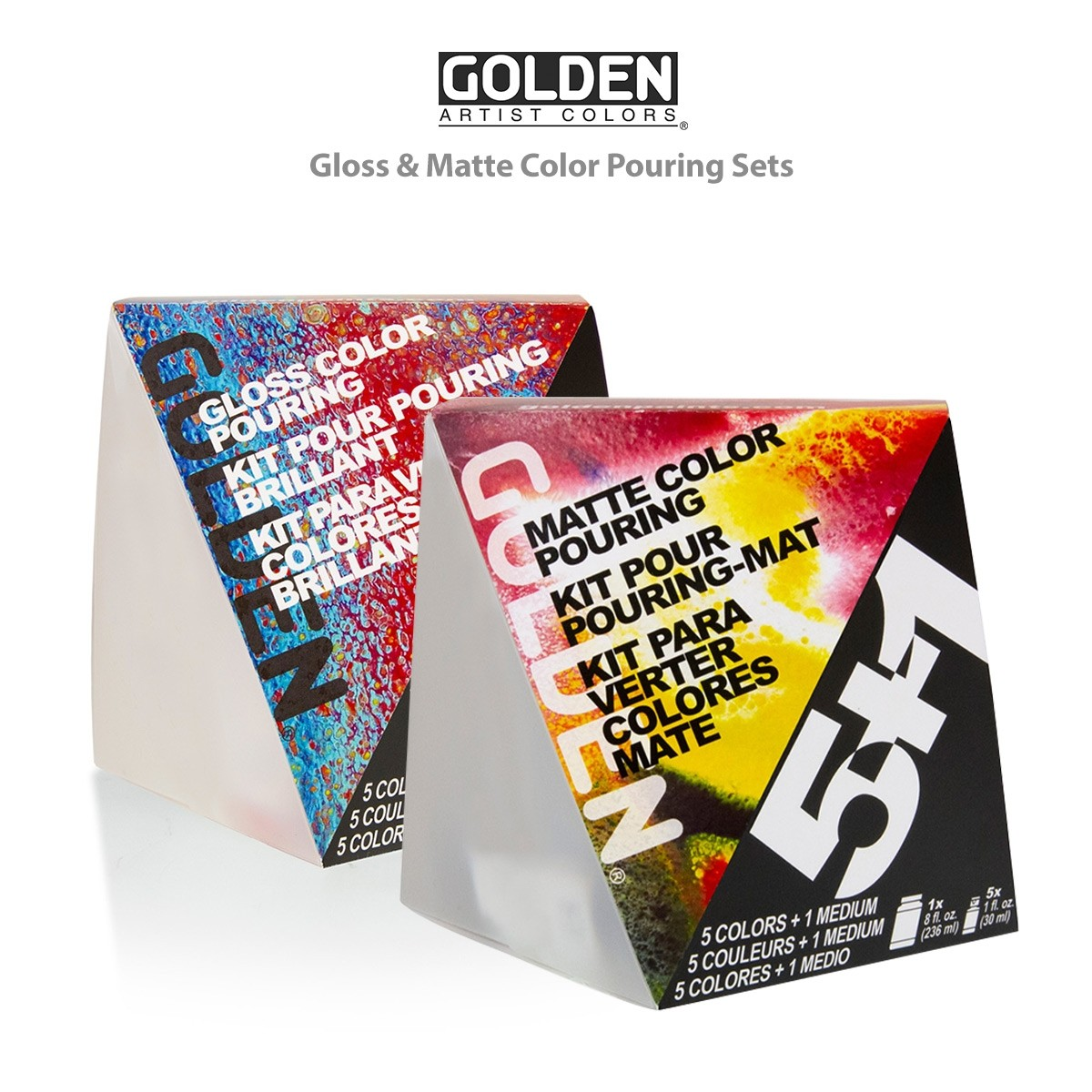 Golden Pouring Medium Sets - Color Pouring Mediums