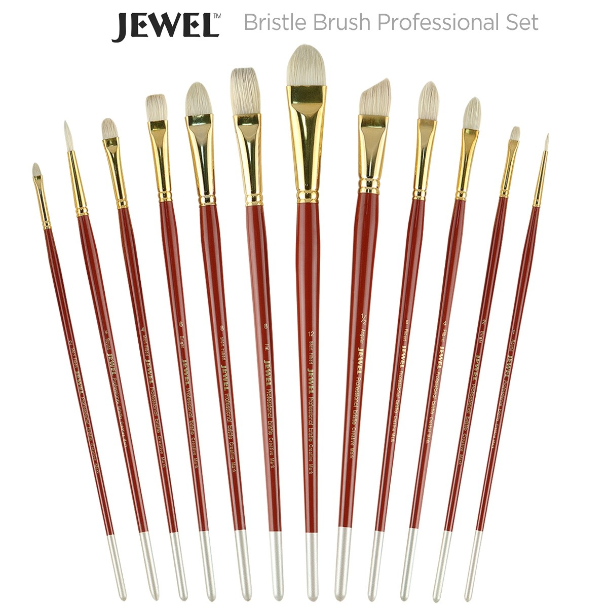 Jewel Professional Bristle Long Handle Brush Set