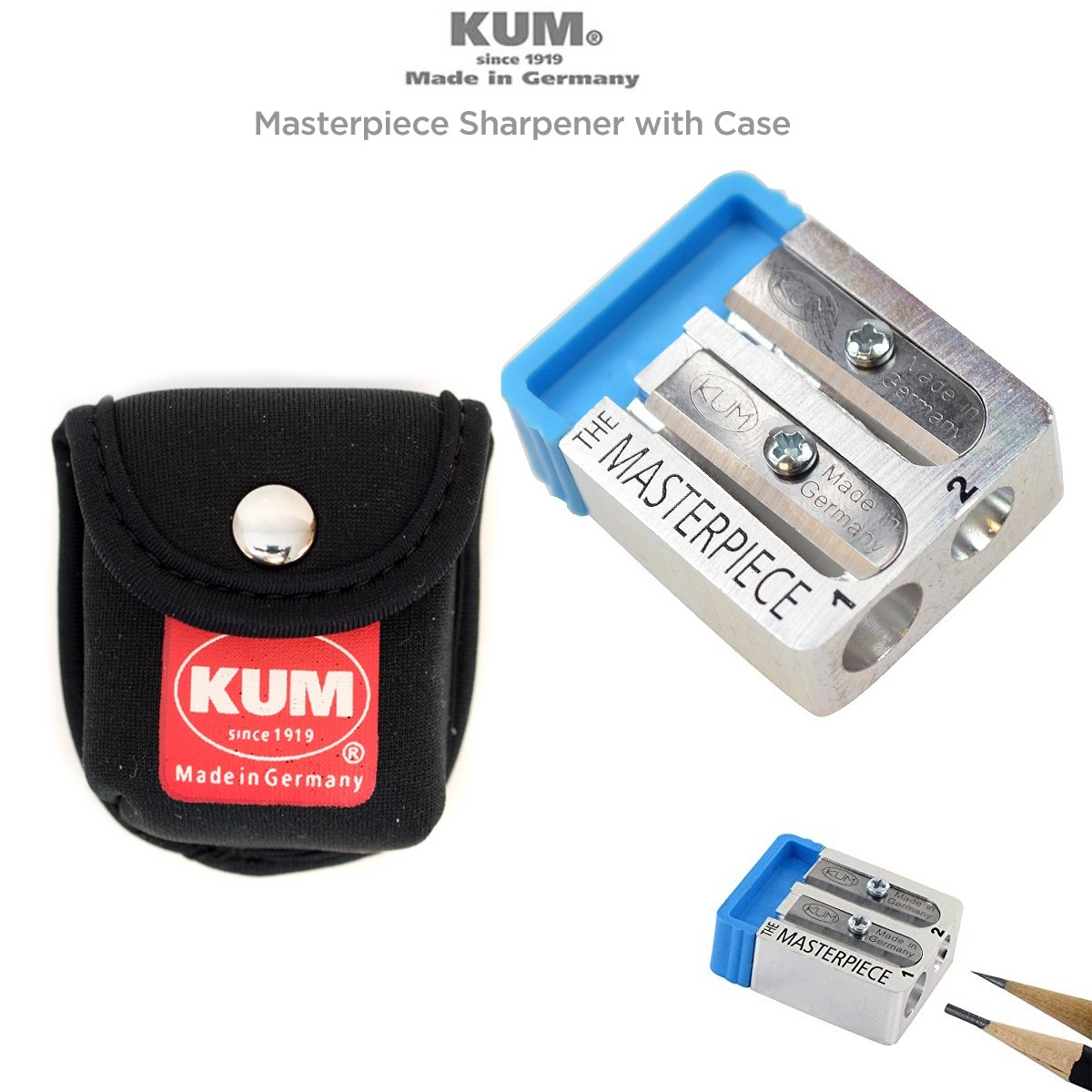 KUM Masterpiece Sharpener Long Point 2 Hole Pencil & Pouch