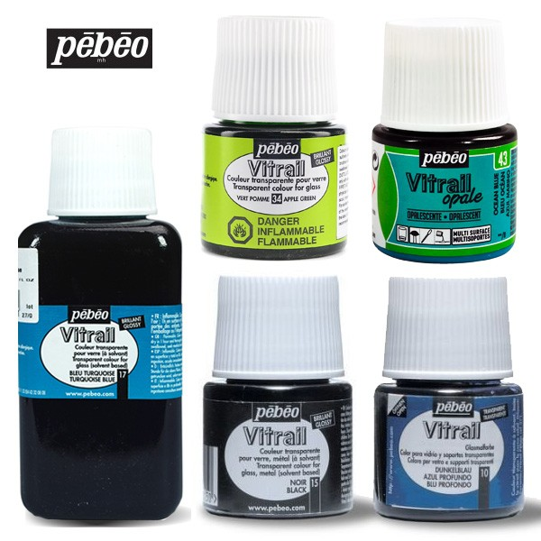 Pebeo Mixed Media Vitrail Transparent, Opaque Colors