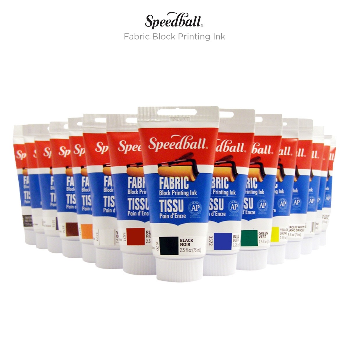 2.5 oz Tubes of Speedball Fabric Block Printing Ink