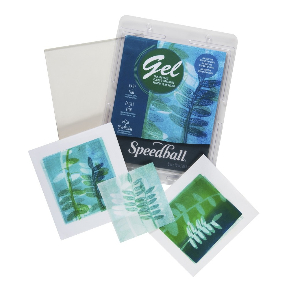 Speedball Gel Printing Plates Out of Box 8x10 with Finished Product