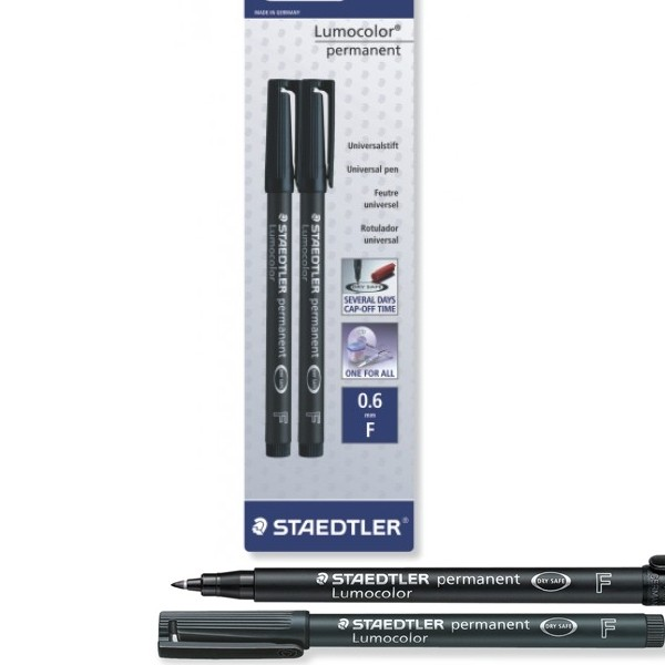 Staedtler Lumocolor® permanent pen Black F 318 - 2 Pack