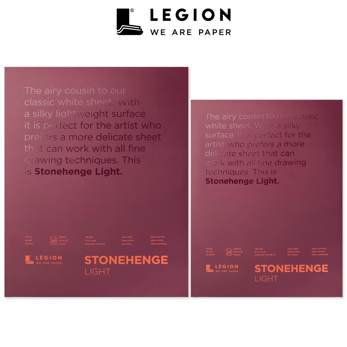 Stonehenge Light Paper Pads by Legion, 15 sheets, 100% cotton, acid-free