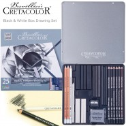 Cretacolor Black & White Box Drawing Sets of 25