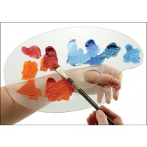 Clear Acrylic Oval Palette by Quinn  - Glass Like Artist Palette Smooth Surface.