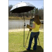 This umbrella has a non-reflective black lining to keep your colors true and a reflective silver outer shell to keep you cool.