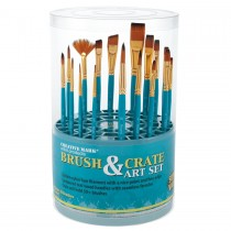Creative Mark Artist Brush Crate Set with 18 Short Handle Brushes
