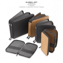 Global Art Genuine Leather Colored Pencil Cases