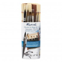 Mini Brush Travel Set of 6 with Bamboo Roll-Up