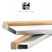 Wooden stretcher bars with recycled aluminum brackets