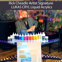 Professional Artist Rick Cheadle uses LUKAS CRYL Liquid Acrylics, DaVinci Birch Pro Panels and Liquitex Pouring Mediums