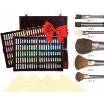This set includes 200 handmade soft pastels fitted inside of a beautiful wooden case, 10 sheets of UART pastel paper and 6 pastel blending brushes!
