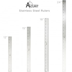 Acurit Stainless Steel Rulers - 12in, 15in, 18in & 24in