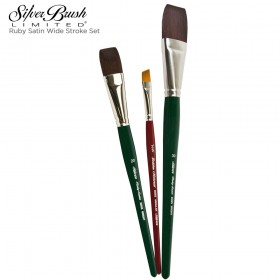 Silver Brush Ruby Satin® Wide Stroke Brush Set
