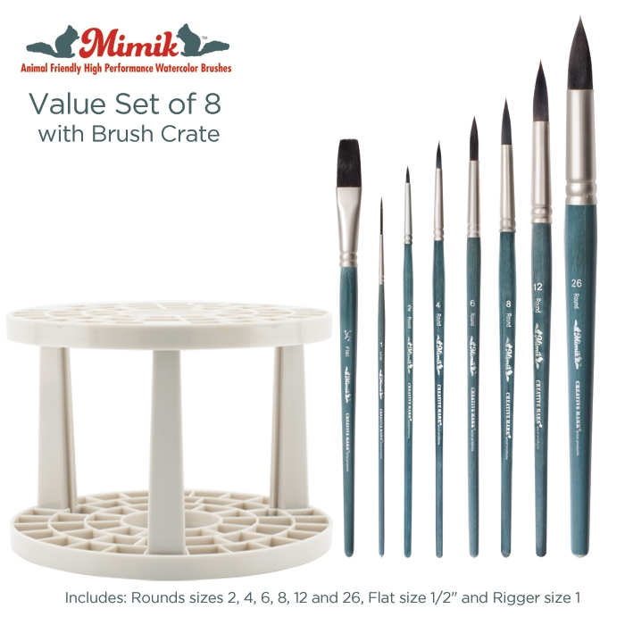 Mimik Kolinsky Watercolor Value Brush Set of 8