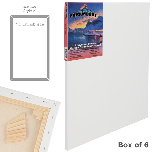 Paramount 11/16 Professional Cotton Stretched Canvas Bulk Packs