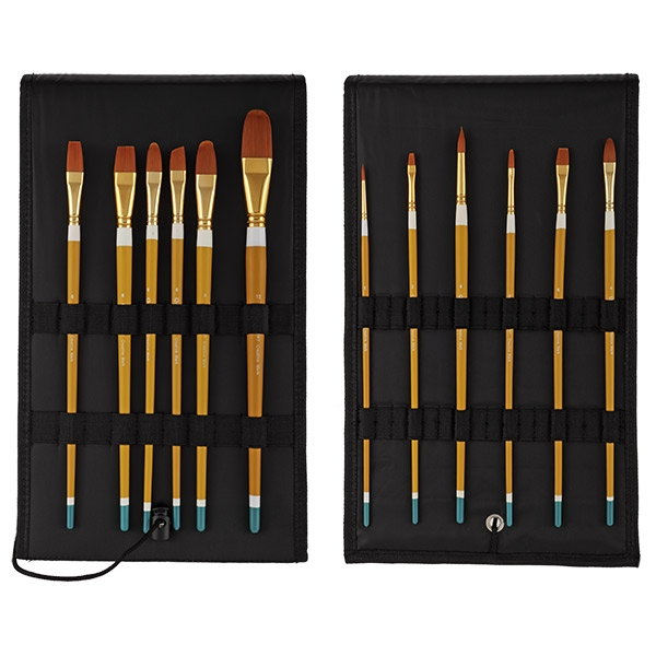 Qualita Bueno Golden Taklon Hair Brush Sets