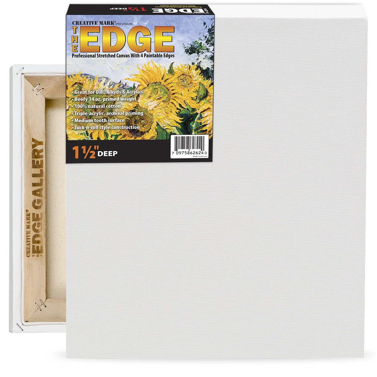 The Edge All Media Cotton Deluxe Stretched Canvas 1-1/2 Deep