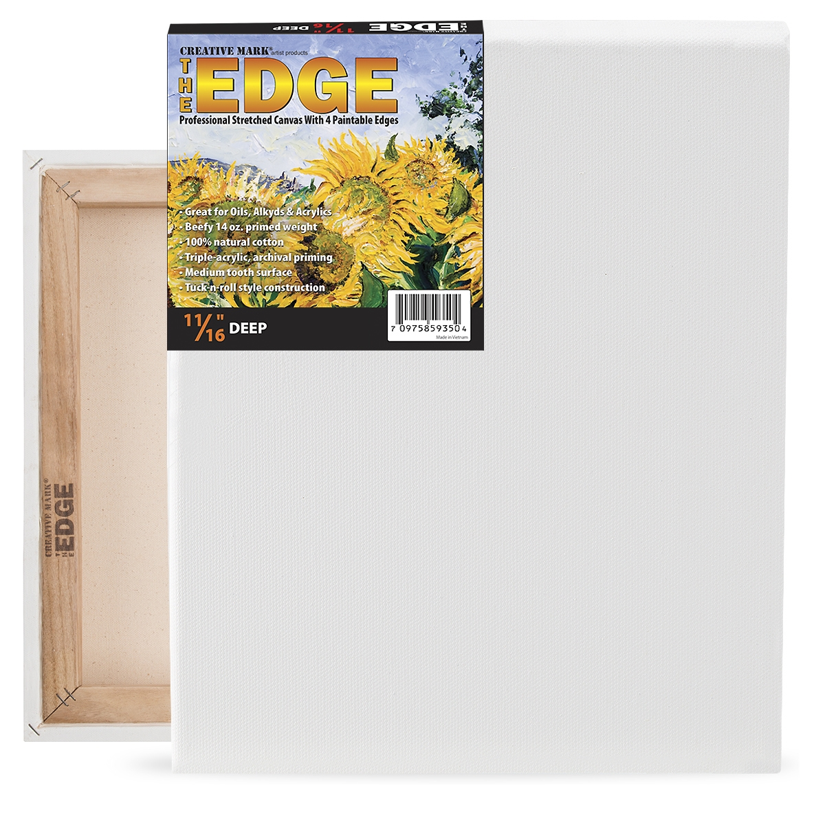 The Edge All Media Cotton Deluxe Stretched Canvas 11/16 Deep