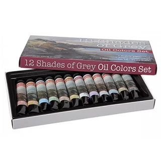 12 Shades of Grey Oil Colors Set of 12 21 Ml Tubes