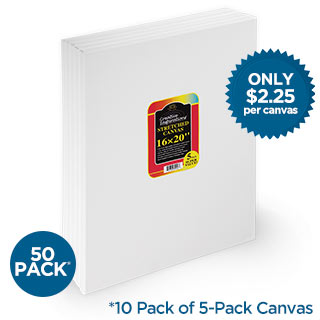 "5/8"" Deep Stretched Canvas Bulk Box of 50 16X20 In"