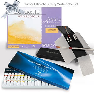 Turner Ultimate Watercolor Gift Set (Fabriano Watercolor Block & Brush Set of 4)