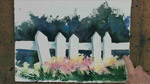 Interesting Picket Fence in Watercolors