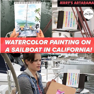 Plein Air Watercolor Painting on a Sailboat in California- by Lisa Kowieski