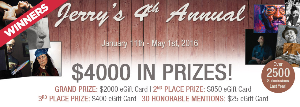2016 Fourth Annual Jerrys Artarama Self Portrait Contest, January 11th thru May 1st, 2016!