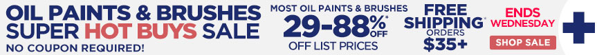3 Day Sale on Oil Paints & Brushes – Extra 15% OFF Bonus Coupon & Already Reduced Hot Buys - must use code opbja18 at checkout