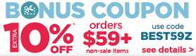 10% off orders $59+ - see details