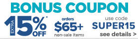15% off $65 or more coupon on non sale items