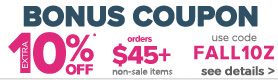 10% off $45 or more coupon on non sale items
