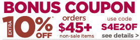 Bonus Coupon 10% Off orders $45 or more