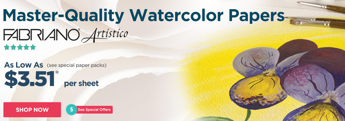 Fabriano Watercolor Papers - Top selling watercolor paper only $3.51 per sheet
