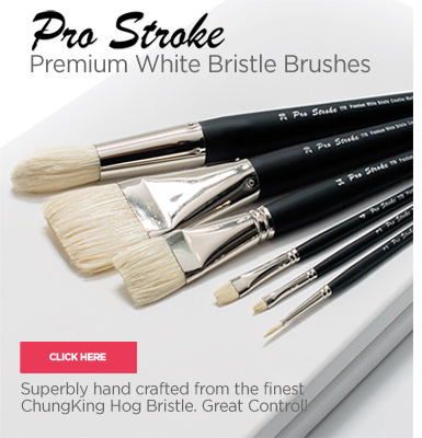 Pro Stroke Premium White Bristle Artist Painting Brushes