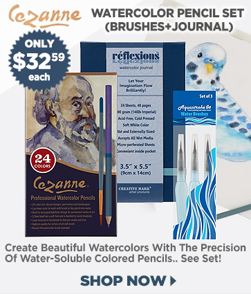 Watercolor Pencils Art Set with Brushes and Journal