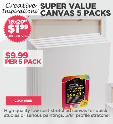 Super Value 5 Packs of Canvas $1.99 each