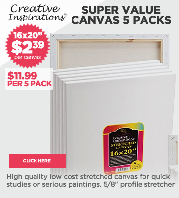 Super Value 5 Packs of Canvas $2.39 each