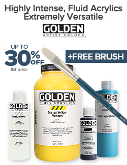 GOLDEN Fluid Acrylics on sale 30% OFF Plus Free Brush
